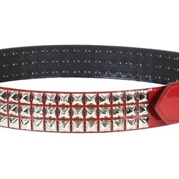 """Red Patent Leather PVC 3-Row Pyramid Stud Belt 1-3/4"""" Wide"""
