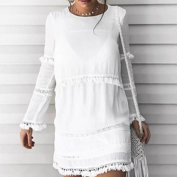 Beachside Crochet Tassel Lace Dress - White