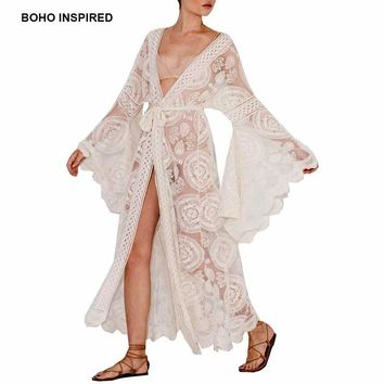 Boho Inspired floral print bell sleeve lace maxi wrap summer tunic dress bohemian holiday kimono beach dresses vestidos 2019