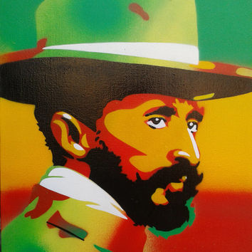 Haile  Selassie stencil art original painting, canvas,custom,made to order,rastafarian,jamaica,red,yellow,green,reggae,king,ethiopia,culture