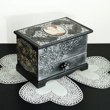 Hand painted antique jewelry box, Black silver box, Victorian style jewelry box, rococo style box, silver and black trinket box