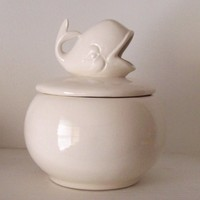 Round Whale Candy Dish in White Vintage Design Ceramic Candy Jar For The Whale Lover Whale Home Decor