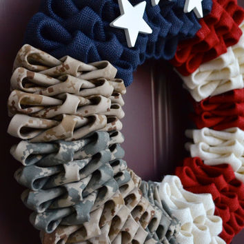 Patriotic Multi-Branch Military Wreath (No Bow)