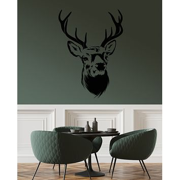 Vinyl Wall Decal Forest Deer Head Animal Horns Hunting House Stickers (4009ig)