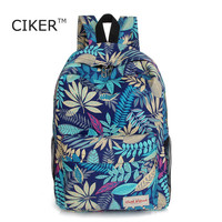 CIKER 2016 women backpacks printing leaves backpack mochila rucksack fashion canvas bags retro casual school bag travel bags