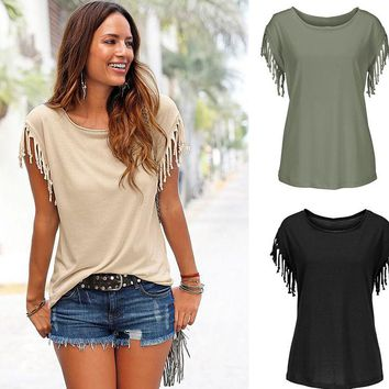 Womens Cool Casual Tassel Sleeve Stylish Top