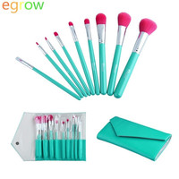 Professional 9pcs Facial Beauty Makeup Cosmetic Brushes Set + Leather Bag (Color: Green) = 1842207876