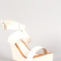 Open Toe Ankle Strap Platform Wedge