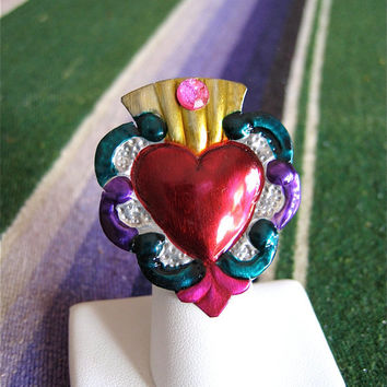 SACRED HEART Intricate Milagro Ring- Perfect gift for your loved one this Valentines
