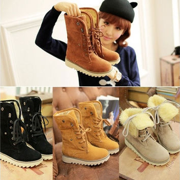 Winter Casual Shoes Women's Suede Thicken Warm Snow Ankle Boots [8238484039]