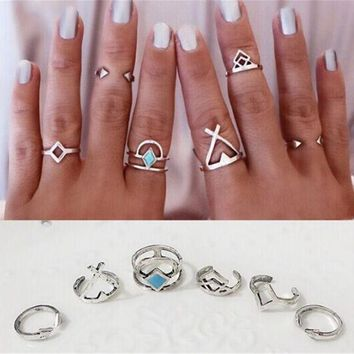 LMF9GW Ahmed Jewelry Vintage Turkish Beach Punk Moon Arrow Ring Set Ethnic Carved Silver Plated Boho Midi Finger Ring Knuckle Charm