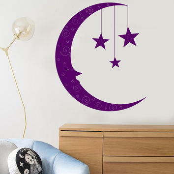 Vinyl Wall Decal Cartoon Moon Face Stars Children's Room Decor Stickers Unique Gift (1381ig)