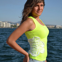 Lime Neon Tank Top with Lace Flower - Handmade by PinkSugArt