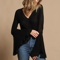 Free People Soo Dramatic Long Sleeve Top - Black
