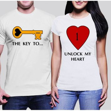 Key to my heart t-shirt, love t-shirt, love shirt, for couples, gift for couples, couples gift, couples outfit, t shirt designs, graphic tee