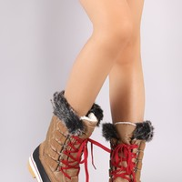 Quilted Puffy Nylon Lace Up Mid Calf Duck Boots