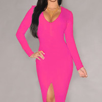 Rose Pink Long Sleeves Midi Dress with Front Slit