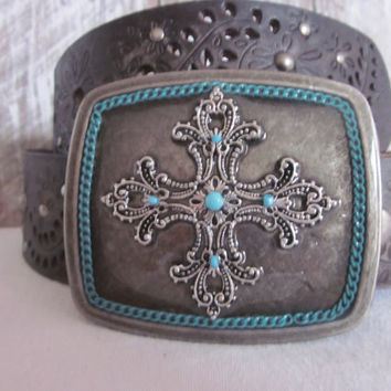 Cross Buckle Silver Antique Filigree Turquoise Glass Cowgirl Bohemian Southwestern Hippie Belt Buckle