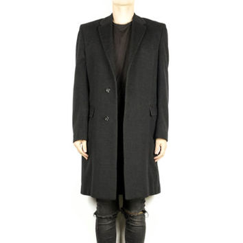 60s Moorbrook Cashmere Wool Coat / vintage 1960s / black long overcoat / slim fit / trench / minimal / minimalist / men medium - large / 40