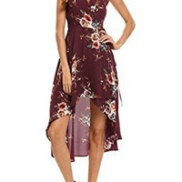 Burgundy Self-Tie Sleeveless Floral Print Irregular Hem Midi Dress