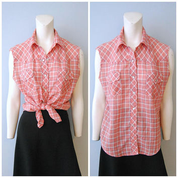 Vintage Pearl Snap Western Wear Plaid Shirt with Sleeves Cut Off Tank Top Sleeveless Men's Red, White and Blue Shirt Top Blouse Worn-In Thin
