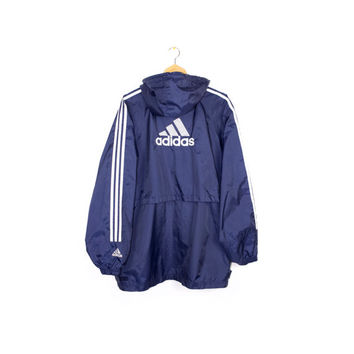 90s ADIDAS windbreaker jacket with hood - vintage 1990s - retro athletic - parka - blue + white - big embroidered 3 stripes logo - mens xl