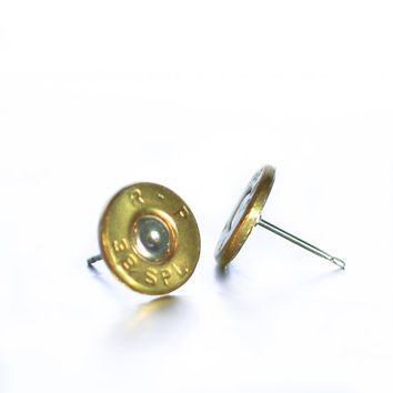 Bullet Stud Earrings- Brass