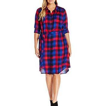 Lucky Brand Womens Plus Size Bungalow Plaid Dress in Navy Multi