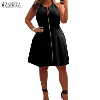 Oversized 2017 Summer ZANZEA Women Sexy V Neck A-line Dress Casual Sleeveless Zipper Solid Knee Length Dress Vestidos Plus Size
