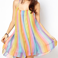 Spaghetti Strap Colorful Backless Chiffon Mini Dress