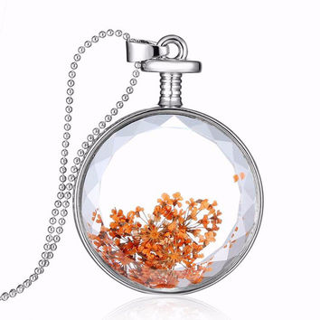 Round Glass Dried Flower Alloy Necklace