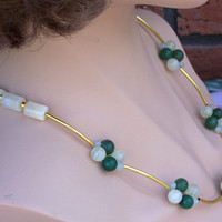 Aventurine and Onyx Necklace With Gold Tone Curved Tubes, Green, Ivory, Gemstone Necklace, Handmade Jewelry