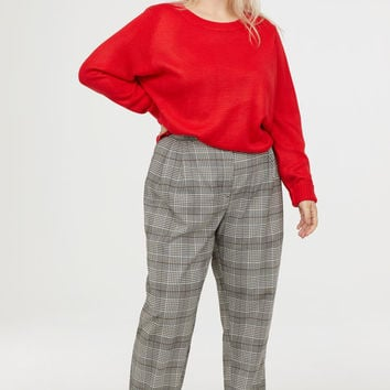 Checked Pants - Black/white checked - Ladies | H&M US