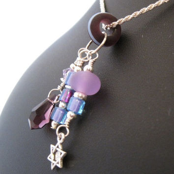 Amethyst glass bead and crystal Charm set with by HorkoverGlass