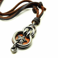 brown soft leather necklace with metal pendant women leather necklace, men leather necklace, unisex leather necklace CB32