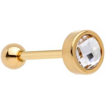 Clear Gem Gold Tone Anodized Cross Stitch Barbell Tongue Ring