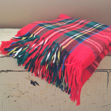 Red Tartan Plaid Stadium Blanket  Acrylic Afghan Throw