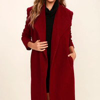 Cozy Kind of Love Wine Red Coat