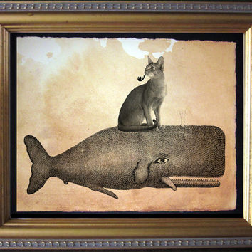 Cat Riding Whale - Abyssinian Cat Riding Whale - Vintage Collage Art Print on Tea Stained Paper - Vintage Art Print - Vintage Paper