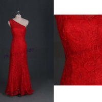 2014 new design one shoulder bridal wedding dress,long chinese cheongsam wedding prom gowns,chic mermaid red lace wedding dresses.