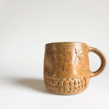 RUSTIC SKULL MUG 15 oz, ceramic, pottery, handmade, coffee, tea, hot, cocoa, chocolate, milk, water, chai, latte, juice, beer, sugarskull