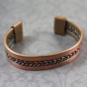 Vintage WM Rope Style Copper Cuff Bracelet
