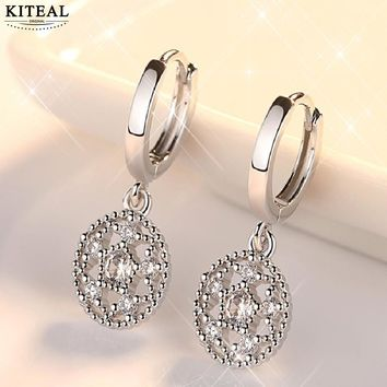 Original Creative Real 925 Sterling Silver Jewelry Dreamcatcher Round hollow out Stud Earrings For Women E630
