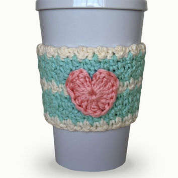 Crocheted Heart Coffee Cup Cozy Robin's Egg Blue, Soft Ecru and Pink