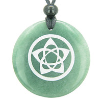 Flower of Life Wiccan Pentacle Star Amulet Green Quartz Pendant Necklace