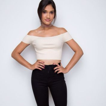 Strectchy Knit Strapless Crop Top  12227