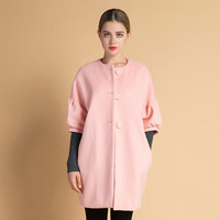 Woolen Coat with Big Buttons