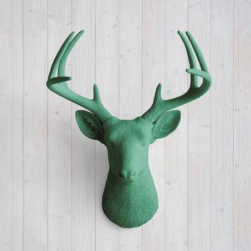 The Virginia Large Seafoam Green Faux Taxidermy Resin Deer Head Wall Mount | Seafoam Green Stag w/ Colored Antlers
