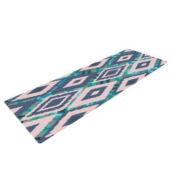 "Nika Martinez ""Tribal Ikat"" Blue Pattern Yoga Mat"