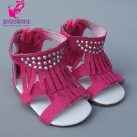 18 Inch American Girl Doll Jean 7cm Doll Shoes for 45CM Reborn Baby Doll Tassel Sandals Summer Shoes
